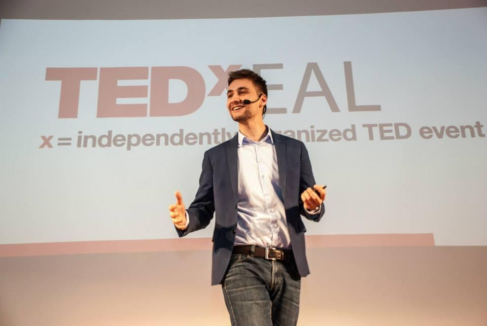 Lukáš jako řečník na TEDx EAL v Dánsku v květnu 2015